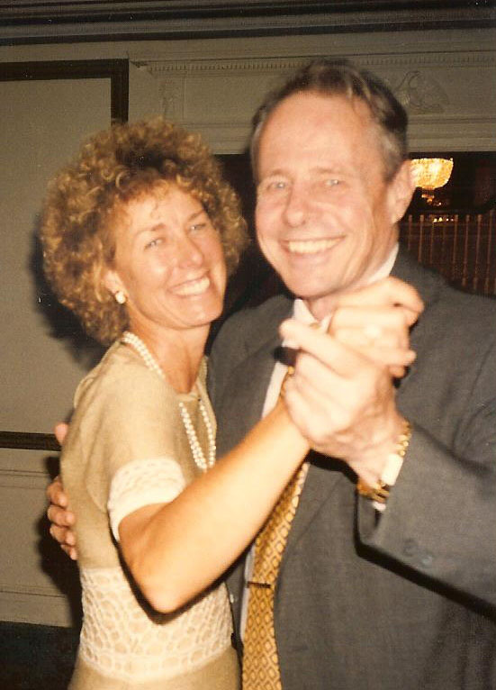Herbert Coursen Jr., an author, academic and peace activist who died Saturday in Brunswick, enjoys with a dance with his partner of 20 years, Pamela Mount. Mount died in March of this year.