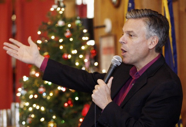 Republican presidential candidate and former Utah Gov. Jon Huntsman speaks at the Peterborough and Jaffrey-Ringe Rotary meeting in Peterborough, N.H., Monday, Dec. 12, 2011.