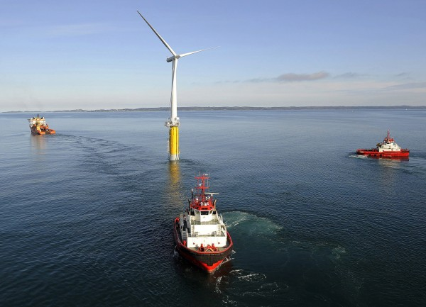 The world's first large-scale floating wind turbine, installed by StatoilHydro and Siemens, is located approximately 7 miles off the southwest coast of Norway at a water depth of about 220 meters.