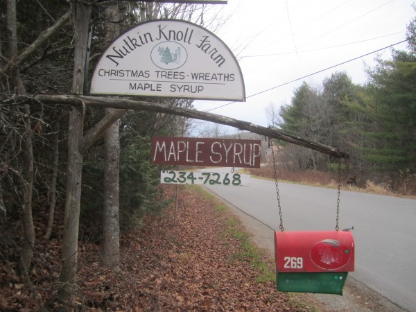 The entrance to Nutkin Knoll Christmas Tree and Maple Sugaring Farm on Chapman Road in Newburgh.