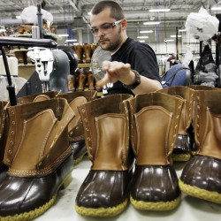 Collins tours L.L. Bean plant, asks whether rumors of pink boot are true
