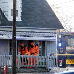 Investigators with the Maine Drug Enforcement Agency were combing a Presque Isle home Thursday, Dec. 29, 2011, after executing a search warrant upon suspicion that methamphetamine was being manufactured there.
