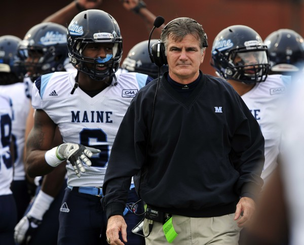 Maine head coach Jack Cosgrove paces the sidelines during the first half of an NCAA college football game against Georgia Southern on Saturday, Dec. 10, 2011, in Statesboro, Ga.