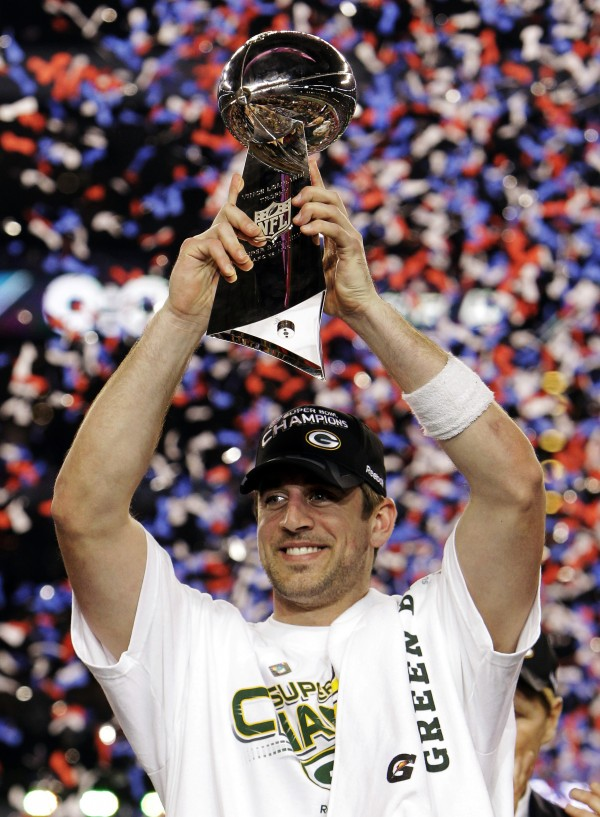 Green Bay Packers quarterback Aaron Rodgers holds the Vince Lombardi Trophy after the Packers' 31-25 win over the Pittsburgh Steelers in the NFL Super Bowl XLV football game in Arlington, Texas in February 2011.