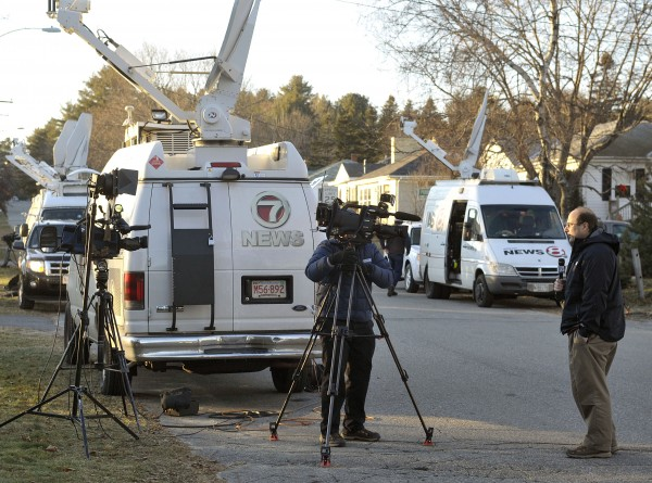 News crews from around New England line Violette Avenue in front of the Waterville, Maine, home where 20 month-old Ayla Reynolds was last seen Dec. 16. National interest in the case remains high Tuesday, Dec. 21, 2011.