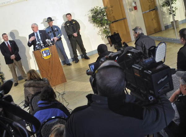 Waterville chief of police Joseph Massey, at podium, speaks to members of the media regarding the investigation into the disappearance of 20 month-old Ayla Reynolds at a conference at city hall in Waterville, Maine, Tuesday, Dec. 21, 2011.