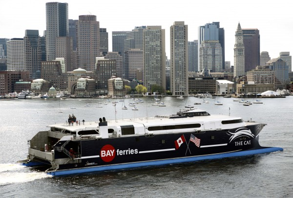 The 320-foot-long high-speed ferry The Cat arrives in Boston Harbor in May 2006.