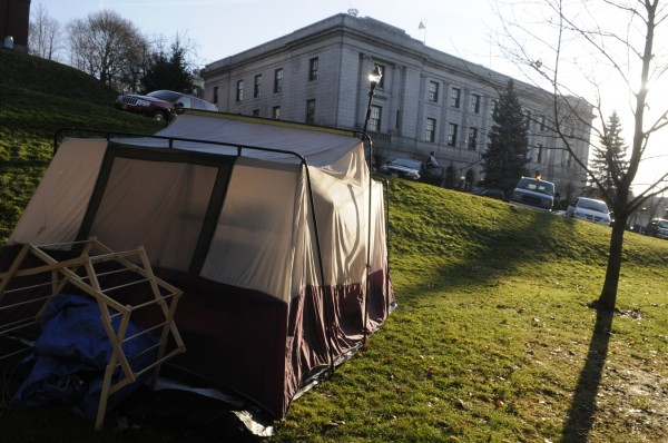 One of several Occupy Bangor tents in Peirce Park that were moved there from the Bangor Public Library grounds over the weekend.