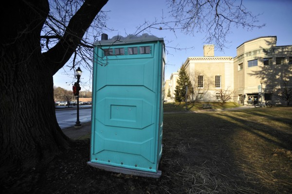The portable bathroom on the edge of the Bangor Public Library property is one of the last remnants of Occupy Bangor's encampment there.