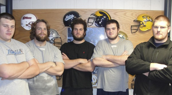 Steve Shea (from left) , Chris Howley, Garret Williamson, Jeff Gakos and Josh Spearin make up the offensive line for the University of Maine football team.