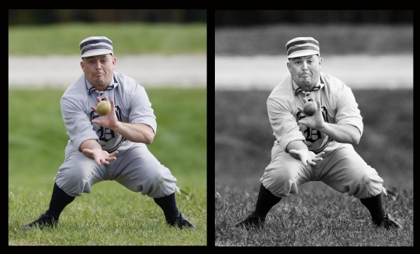 For a photo essay in October on the Dirigo Vintage Base Ball Club I shot the original photos in color but later converted them to black and white to evoke an old-time feel.