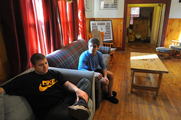 John Dufour (right), the outgoing president, and John Armstrong, the president elect of the Pi Kappa Alpha fraternity chapter at the Univesity of Maine sit in the Orono fraternity house on Saturday, Dec. 3, 2011. The PIKE fraternity house is occupied again after it was closed for several weeks to complete work that brought the building up to code.