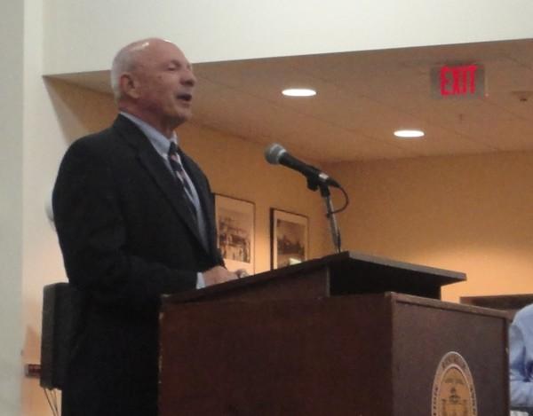 New Portland Mayor Michael Brennan begins his inaugural address Monday night.