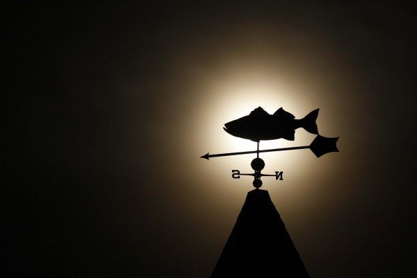A cod fish weathervane on top of the Popham Chapel is silhouetted against a setting full moon before dawn, Saturday, Dec. 10.