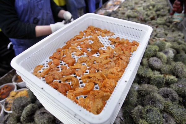 A tray of sea urchin roe is at a processing facility recently in Portland, Maine.