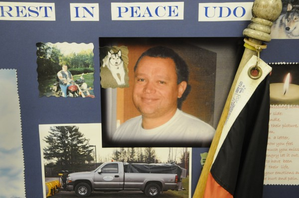 A memory board including photos of the late Udo Schneider was displayed during the celebration of his life at Mount Kineo Masonic Lodge in Guilford Tuesday afternoon, Dec. 6, 2011. On Tuesday, Nov. 29, 2011, Schneider, 53, was was shot to death at the Hilltop Manor in Dover-Foxcroft, where he worked as a maintenance worker.