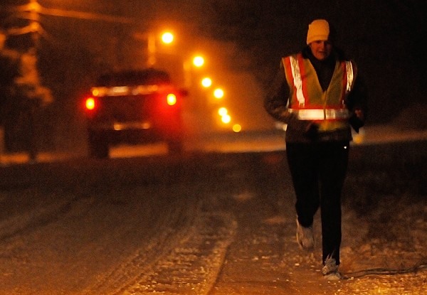 Tracy King didn't let Friday morning's fresh snowfall slow her down as she finished up her six-mile 5 a.m. run along Essex Street in Bangor. She said she was happy to be out in the fresh snow as Thursday's black ice prevented her from venturing out. &quotIt's nice and squishy,&quot she added. For most of her route she said she was joined  by her gal pals Julie Quinn, Amy Harrow and Jen Ruhlin.