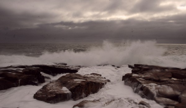 Waves crash onto the rocky shoreline at Schoodic Point in Acadia National Park in November 2010.
