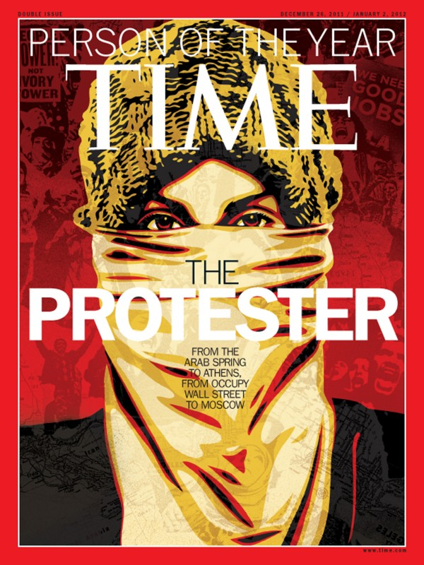 This image released by Time Magazine shows the Person of the Year issue featuring &quotThe Protester.&quot The magazine on Wednesday, Dec. 14, 2011 cited dissent across the Middle East that has spread to Europe and the United States, and says these protesters are reshaping global politics.