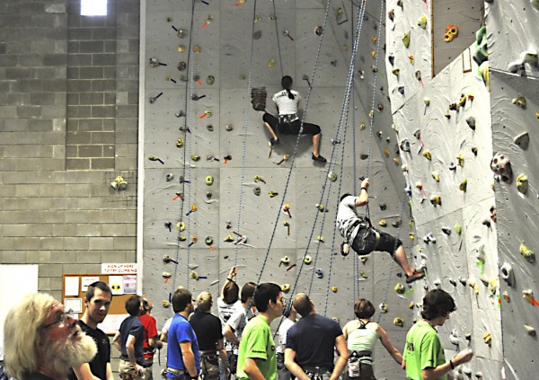 Competitors gather at ROCKFEST indoor wall climbing competition last Saturday held by the students in the Adventure Recreation and Tourism program at Washington County Community College in Calais.