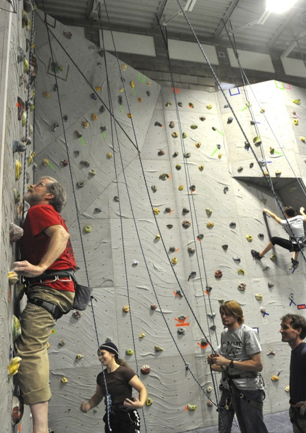 Bob Sherman scaling the wall.
