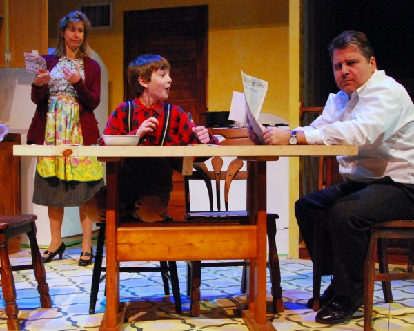 Jeri Misler (from left), Nathan Manaker and Arthur Morison rehearse a scene from Penobscot Theatre's &quotA Christmas Story.&quot