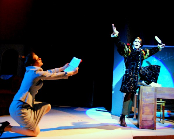 Jasmine Ireland (left) and Nick Danby rehearse a scene from Penobscot Theatre's &quotA Christmas Story.&quot