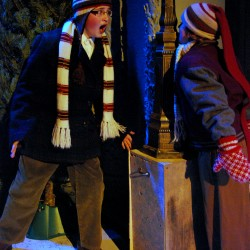 Nick Danby (left) and Aidan Babbitt rehearse a scene from Penobscot Theatre's &quotA Christmas Story.&quot