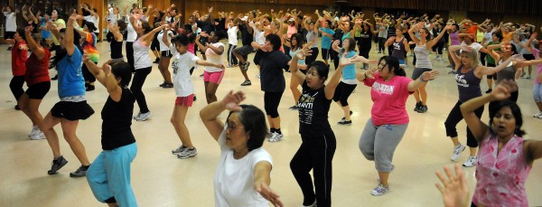 A Zumba class in suburban Washington draws a crowd.