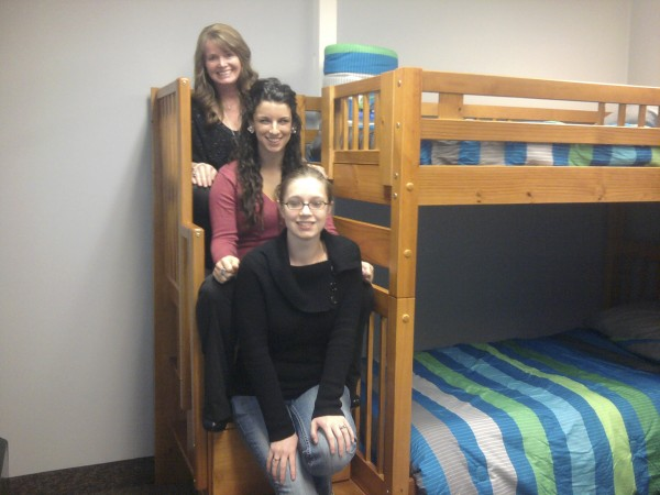Husson University students who played a key role in creating Ann's House, Manna Ministry's soon-to-open emergency shelter for women and families were from top to bottom are Sherry Molcan, Christin Grant and Nicole Benner.