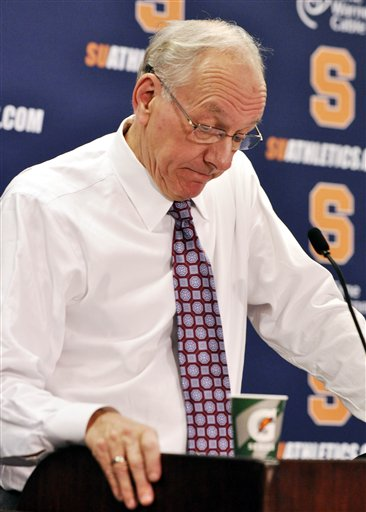Syracuse head coach Jim Boeheim reacts after apologizing for statements he made earlier about the Bernie Fine sexual abuse case after Syracuse defeated Florida 72-68 in an NCAA college basketball game in Syracuse, N.Y., Friday, Dec. 2, 2011.