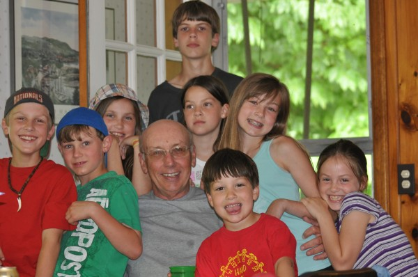 Peter Bourque enjoys Father's Day 2010 with his grandchildren.