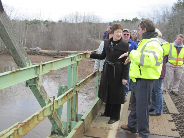U.S. Sen. Susan Collins, R-Maine, talks with Maine Transportation Commissioner David Bernhardt on Friday, Dec. 2, 2011, about structural deficiencies on the Maine Kennebec Bridge, which spans the river between Richmond and Dresden. Bernhardt said that if Maine is not successful in its application for $10.8 million in federal grant funding, the $25 million replacement project might be delayed for years.