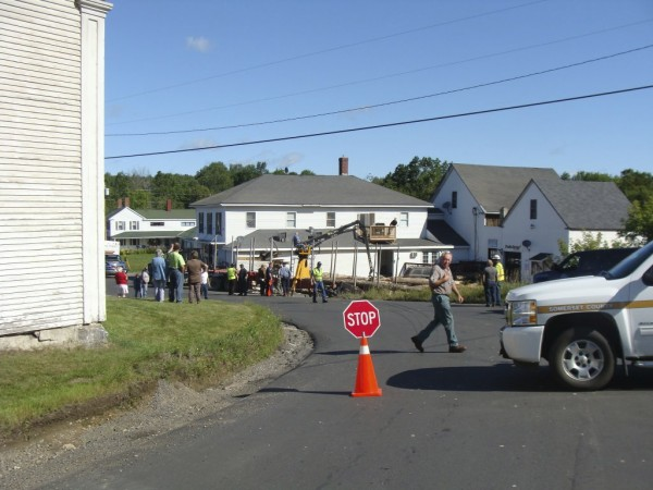 The driver of a tractor-trailer loaded with pulp wood lost control of his vehicle on this curve in Cambridge in August 2011, sending both the truck and the logs into the Cambridge General Store.
