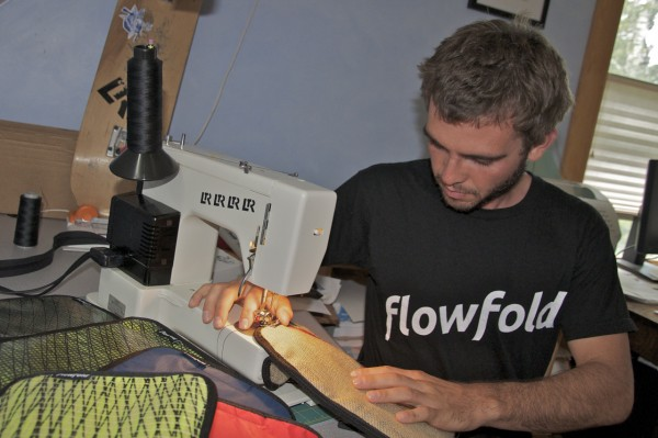 Charles Friedman sewing Flowfolds on Peaks Island recently.