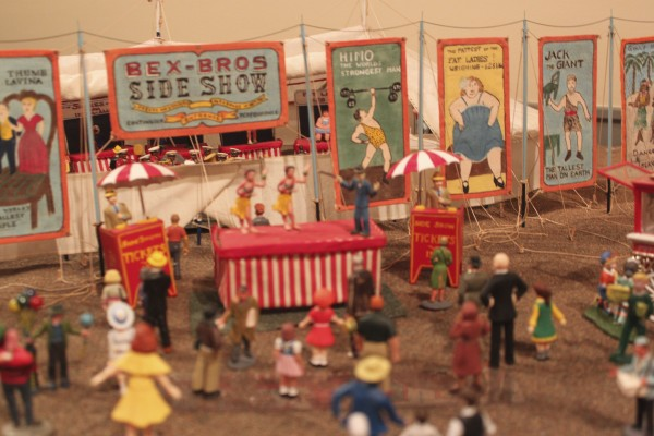 Spectators gather to watch the many side shows of the Bex Bros. Circus, a circus model that Les Bex, 74, of Camden has been working on since he was 8 years old. The circus is now on display at the Penobscot Marine Museum Main Street Gallery in Searsport through Jan. 29.