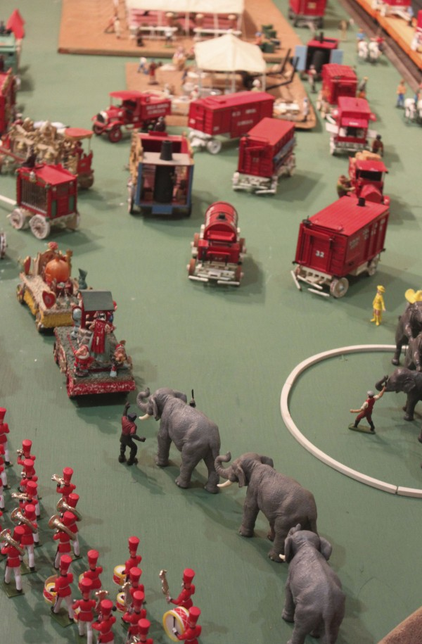 Hand-carved elephants and carefully constructed parade floats and wagons by Les Bex of Camden are displayed at the Penobscot Marine Museum Main Street Gallery in Searsport through Jan. 29, along with the rest of his model circus, the Bex Bros. Circus.