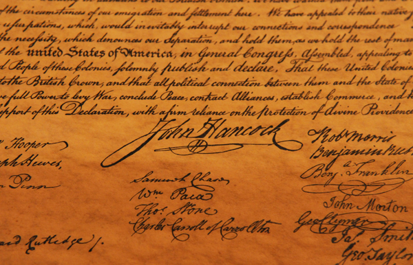 A detail of the signatures on a copy of the Declaration of Independence owned by Roger Sanborn of Greenbush is seen here on Friday, Dec. 9, 2011. Sanborn found the document in the back of a framed picture he picked from the trash 20 years ago.