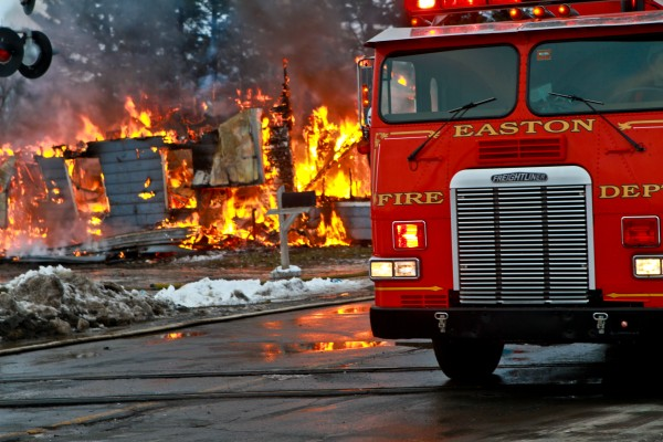Easton Fire Department responds to a single-dwelling structure fire at 316 Station Road in Easton on Wednesday, Dec. 14, 2011.