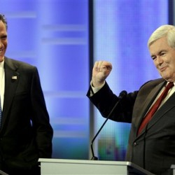 Republican rivals go after Gingrich, Romney in Iowa debate