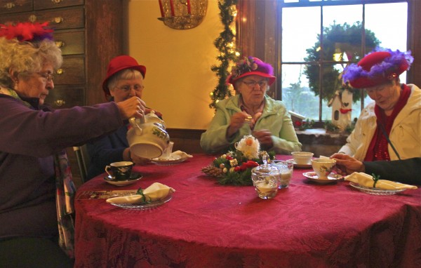 Sharon Wing of Newport (from left), Marilyn Warden of Newport, Rhoda Smith of Brooks and Polly Michaud of Newport enjoy high tea at Woodlawn Museum in Ellsworth on Wednesday, Dec. 7, 2011.