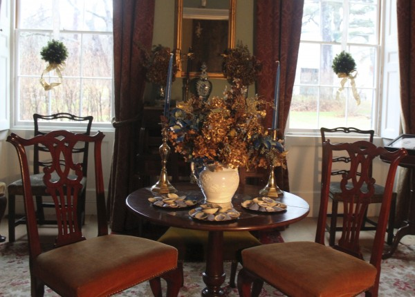 The library of the main house of the Woodlawn Museum in Ellsworth, decorated by Bar Harbor Garden Club in November, is ready for the holiday season.