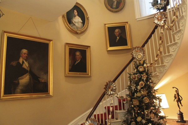 The staircase of the main house of the Woodlawn Museum in Ellsworth is covered in metallic paper chains made by M.M. Julz Christmas Shop. They joined the many teams of decorators in November at Woodlawn and were assigned to decorate the hallway and staircase in Victorian fashion.