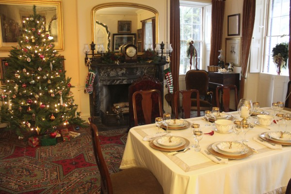 This season, a Christmas tree brightens up the dining room of the Woodlawn Museum main house in Ellsworth. The room was decorated by Wallace Interiors in Ellsworth.