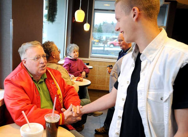 Lewiston Mayor-elect Bob Macdonald talks with fellow U.S. Marine Damian Dunlay of Lewiston at McDonald's on Lisbon Street on Wednesday. Macdonald served in Vietnam. Lance Cpl. Dunlay is stationed in Okinawa.
