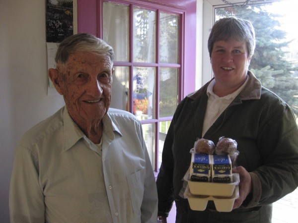 MCH employee Lucy Stackpole delivers a meal to Edgar Post, who is part of the Knox County Meals on Wheels program. Meals on Wheels gives low-cost or free meals to elderly people who can no longer cook for themselves.