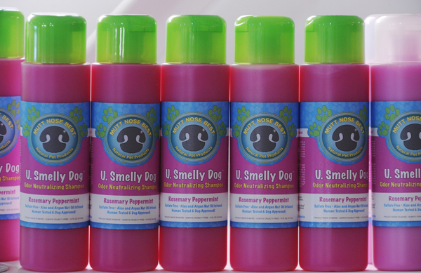 Bottles of &quotU. Smelly Dog&quot line a shelf at Mutt Nose Best's natural pet care products warehouse in Bangor on Dec. 8, 2011.