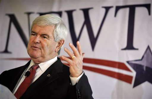 Republican presidential candidate former House Speaker Newt Gingrich speaks during a campaign stop Friday, Dec. 23, 2011, in Columbia, S.C.