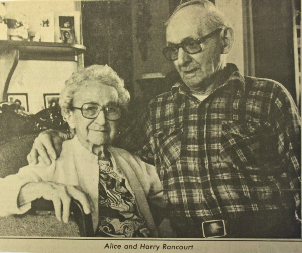Harry and Alice Rancourt pose to be photographed for the Bangor Daily News in 1979 for their 70th wedding anniversary.