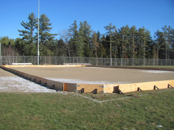 The majority of construction on a new ice skating rink in Wiscasset is complete. All the town needs to bring the project to fruition is $1,000 for the purchase of a water-proof liner — and continued cold weather.